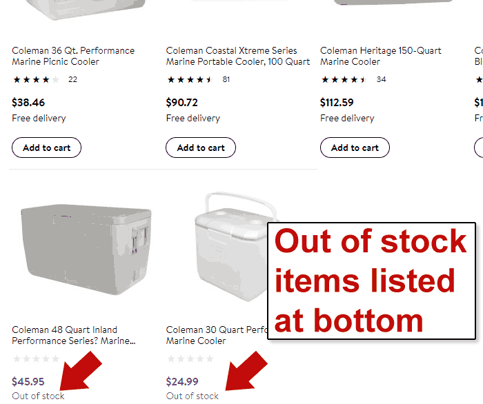 Screenshot of a product search page showing recently out of stock products