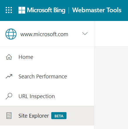 Site Explorer - Bing Webmaster Tools menu